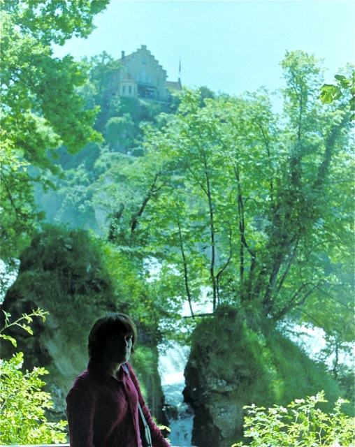 Photo of Frith Luton at the Rhine falls at Schaffhausen, looking across the Rhine at Schloss Laufen.