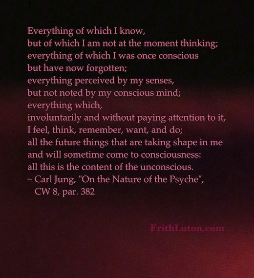 Everything of which I know, but of which I am not at the moment thinking; everything of which I was once conscious but have now forgotten; everything perceived by my senses, but not noted by my conscious mind; … all this is the content of the unconscious.. Quote by Carl Jung