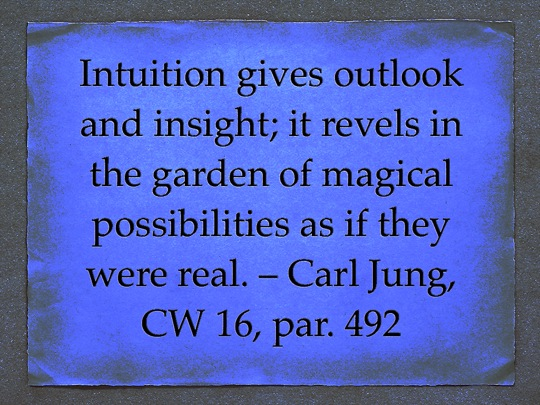 "Quote from Carl Jung: ""Intuition gives outlook and insight; it revels in the garden of magical possibilities as if they were real."