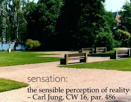 Quote from Carl Jung: Sensation: the sensible perception of reality.