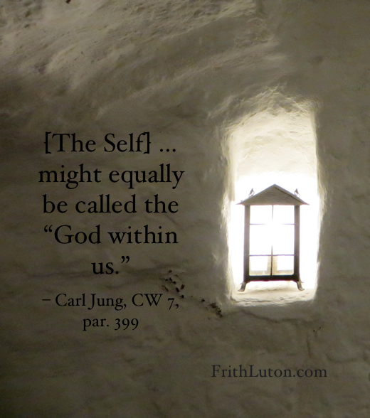 "Quote from Carl Jung: The Self… might equally be called the ""God within us"". Image of a lamp in an alcove in a hallway."