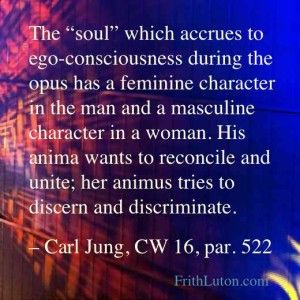 "Quote from Carl Jung: ""The ""soul"" which accrues to ego-consciousness during the opus has a feminine character in the man and a masculine character in a woman. His anima wants to reconcile and unite; her animus tries to discern and discriminate."""