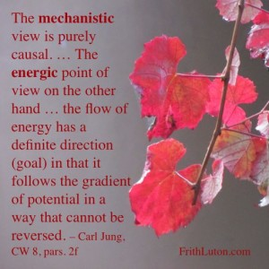 Quote from Carl Jung: The mechanistic view is purely causal. … The energic point of view on the other hand … the flow of energy has a definite direction (goal) in that it follows the gradient of potential in a way that cannot be reversed.