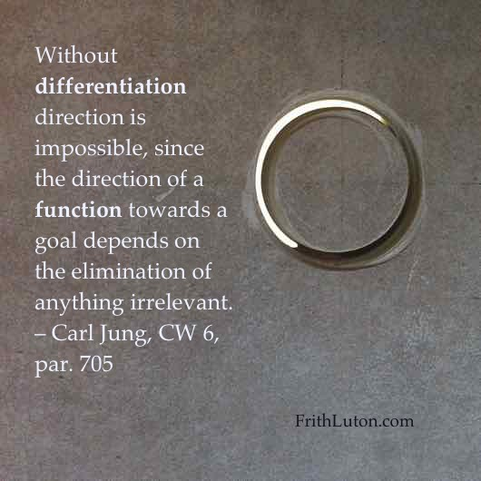 Without differentiation direction is impossible, since the direction of a function towards a goal depends on the elimination of anything irrelevant. – quote from Carl Jung
