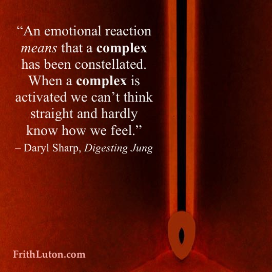"""An emotional reaction means that a complex has been constellated. When a complex is activated we can't think straight and hardly know how we feel."""" – Daryl Sharp'sDigesting Jung"""