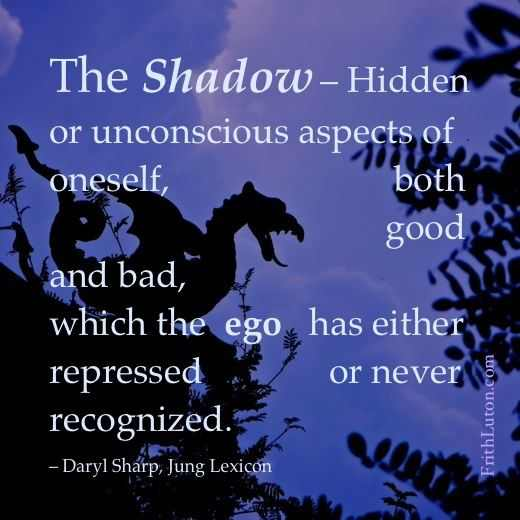 "Quote: ""The Shadow – Hidden or unconscious aspects of oneself, both good and bad, which the ego has either repressed or never recognized."" – Daryl Sharp, Jung Lexicon"