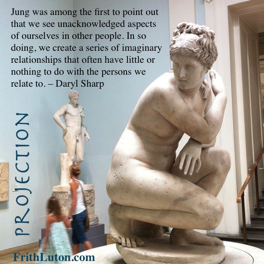 Jung was among the first to point out that we see unacknowledged aspects of ourselves in other people. In so doing, we create a series of imaginary relationships that often have little or nothing to do with the persons we relate to. – Daryl Sharp