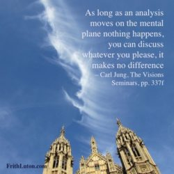 As long as an analysis moves on the mental plane nothing happens, you can discuss whatever you please, it makes no difference – Carl Jung, The Visions Seminars, pp. 337f
